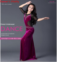 Professional Sexy Girls Red Velvet Belly Dance Kids For Girl Dress Girls Skirt Children Cha Cha