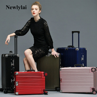 6 colour Vintage Travel Trolley metal Luggage Suitcase full Aluminum With TSA Lock Hardside Rolling Luggage Suitcase With Wheels