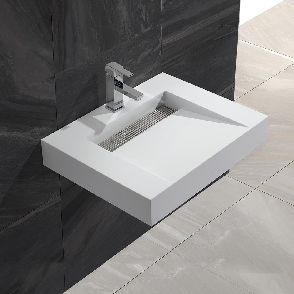 KKR solid surface matt white square wall hung wash basin bathroom sink KKR-1379 бордюр atlas concorde 3d wall spigolo white matt 1x20