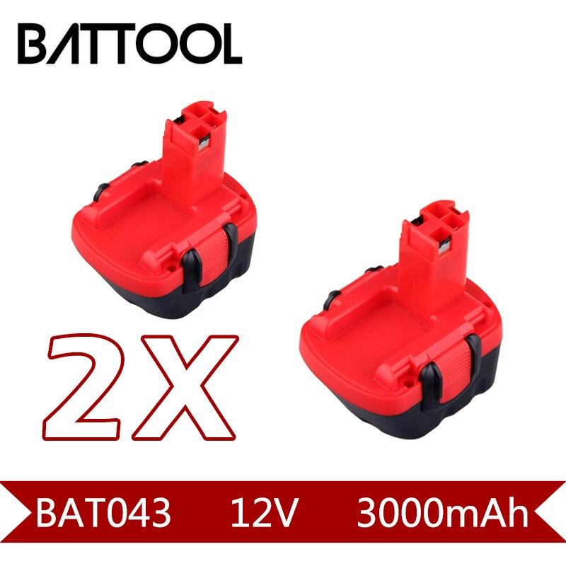 цена на 2X 3000mAh 12V Ni-CD BAT043 Rechargeable Battery: BOSCH GSR 12 VE-2,GSB 12 VE-2,PSB 12 VE-2, BAT043 BAT045 BTA120 2607335430