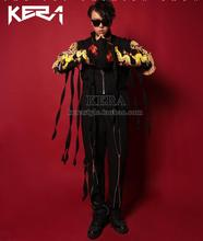 Последним личность Золото вышивка дракон кисточкой черный пояс соболезновать молния шить пальто брюки Bigbang GD мужчины костюмы