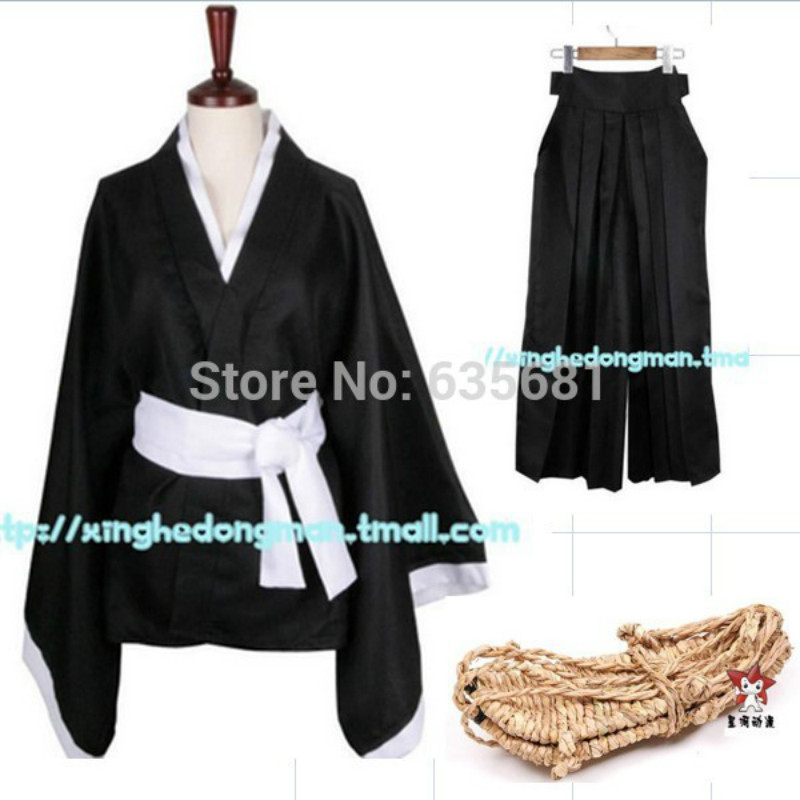 Cos Cheap Hot Sell Bleach Cosplay Costume Soul Reaper Captain Unisex Costumes Coat Pants Waraji