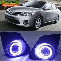 eeMrke COB Angel Eyes DRL For Toyota Corolla Fog Lights H11 55W Halogen Bulbs Daytime Running Lights Kits