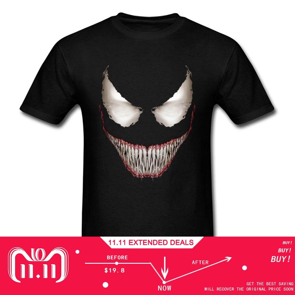 Schlechte Jungs Venom Lächeln T Shirt Hipster T-shirt Männer Schwarz T-shirt Kurzarm Tops Crew Neck Baumwolle Tees Jugendliche Funky kleidung