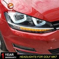 Автомобиль голове стиль лампы для VW Golf 7 2014 фары Golf7 MK7 светодио дный фар DRL Объектив Двойной Луч Биксеноновая HID