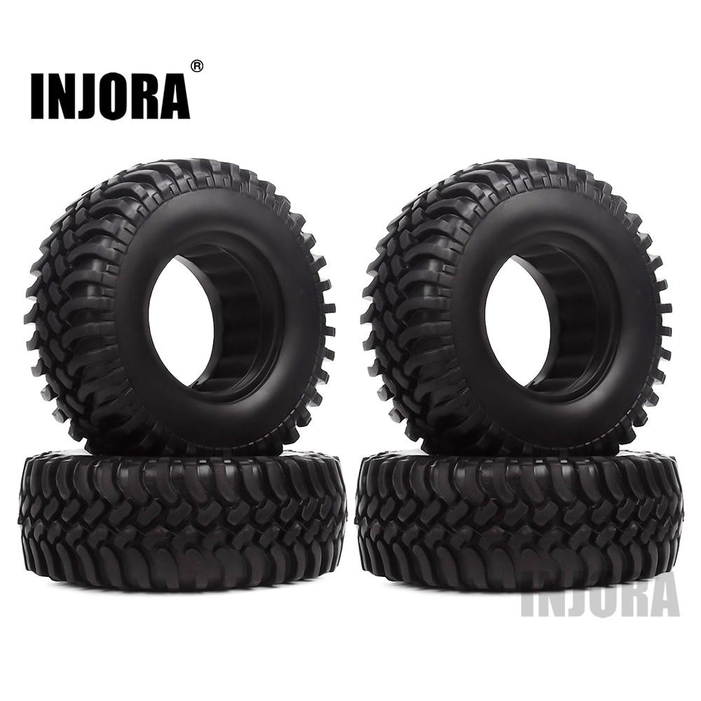 INJORA 4PCS 100MM Rubber 1.9 Wheel Tires For 1:10 RC Crawler Car Axial SCX10 D90 D110 Tamiya CC01