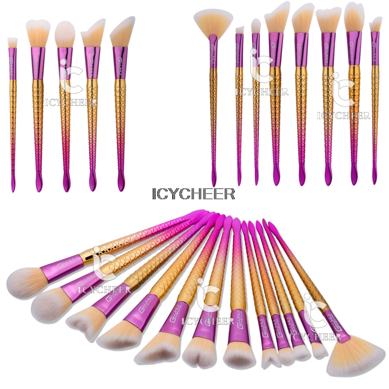 ICYCHEER Makeup Brushes Set Fish Mermaid Foundation Brush Blush Cosmetic Tools