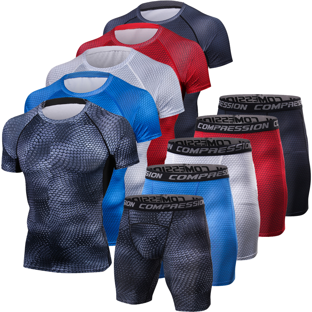 Snake 3D Tracksuit Men Compression Suits BodyBuilding Short Shirts Shorts Tight Set Men Gyms Clothing Quick Dry Men's Sportswear