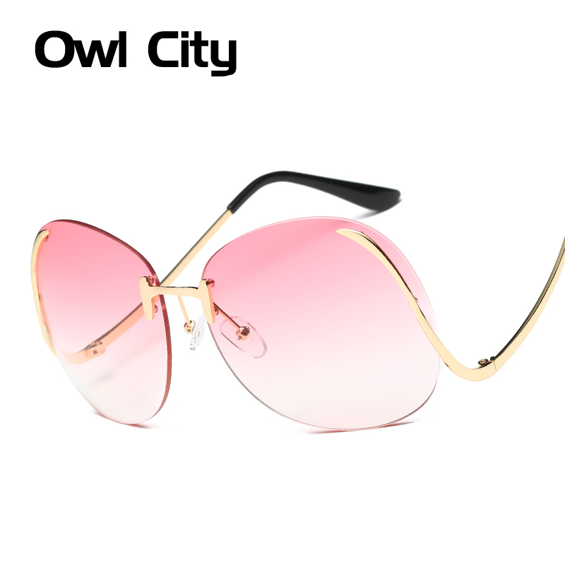 Round Rimless Oversize Sunglasses Women Gradient Lens Vintage Sun glasses Female Eyewear UV400