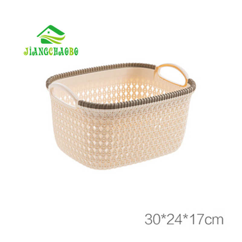 JiangChaoBo Imitação Rattan Oco Lanche Cesta De Armazenamento Cesta De Plástico Cesta de Armazenamento De Desktop Caixa De Armazenamento De Cozinha Portátil