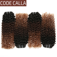 Code Calla Malaysian Remy Kinky Curly Hair Bundles Ombre Blonde Bundles Weft Hair 100% Human Hair Extensions Weave Free Shipping