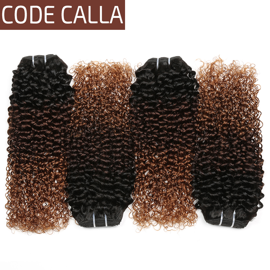 Malaysian Remy Kinky Curly Hair Bundles Ombre Blonde Bundles Weft Hair 100% Human Hair Extensions T1B/4/30 Hair Weave Code Calla