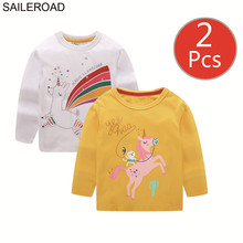 SAILEROAD 2Pcs Girls Long Sleeve Tops Unicorn Shirt 7Years Boys Shirts Cotton Children t-shirts for Kids Clothes