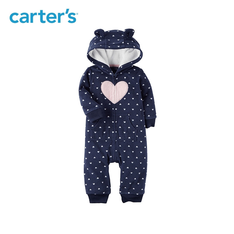 Carters Cute baby girl rompers heart print cozy soft fleece bear ears hooded zip-up jumpsuit baby boy clothes 118H684/118I453 cute hooded long sleeve cartoon figure print women s zip up hoodie
