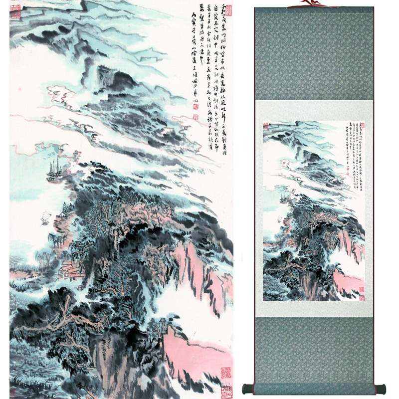landscape painting Home Office Decoration Chinese scroll painting mountain and River paintingPrinted painting060502