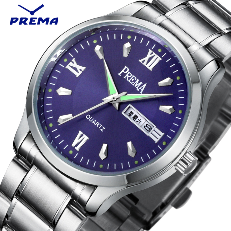 PREMA Brand Japan Movment Stainless Steel Men Watch Business Fashion Blue Quartz Wrist watches Auto Date Week Relogio Masculino 2016 brand new date day men model design fashion trends quality rubber band japan quartz black watch relogio masculino