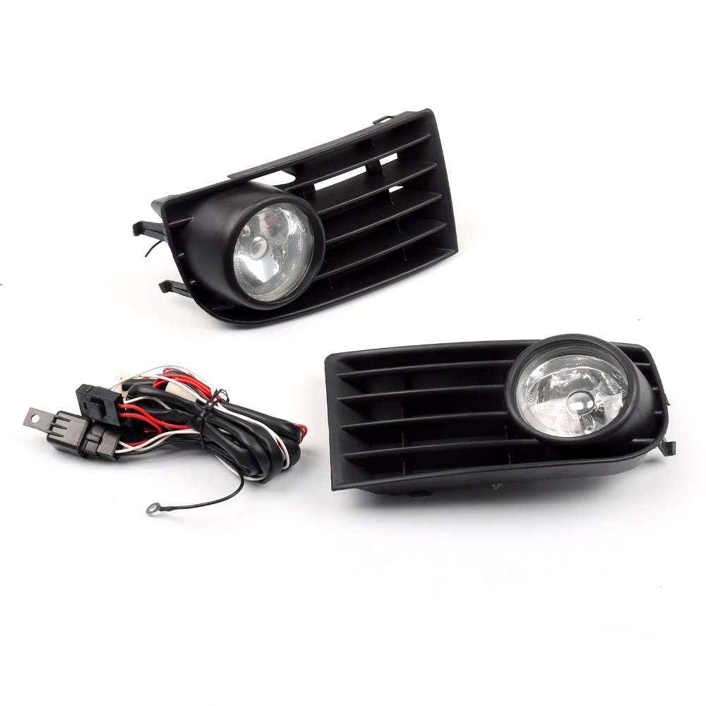 Areyourshop Car 2 X Fog Lights Lamps Bulbs Grille Grill Set For VW MK5 Golf Rabbit 03-09 12V 55W ABS Plastic Car Styling Cover white fog light grille foglamps grill cover for vw golf rabbit mk5 2003 2009 with hardness switch h3 bulbs p98