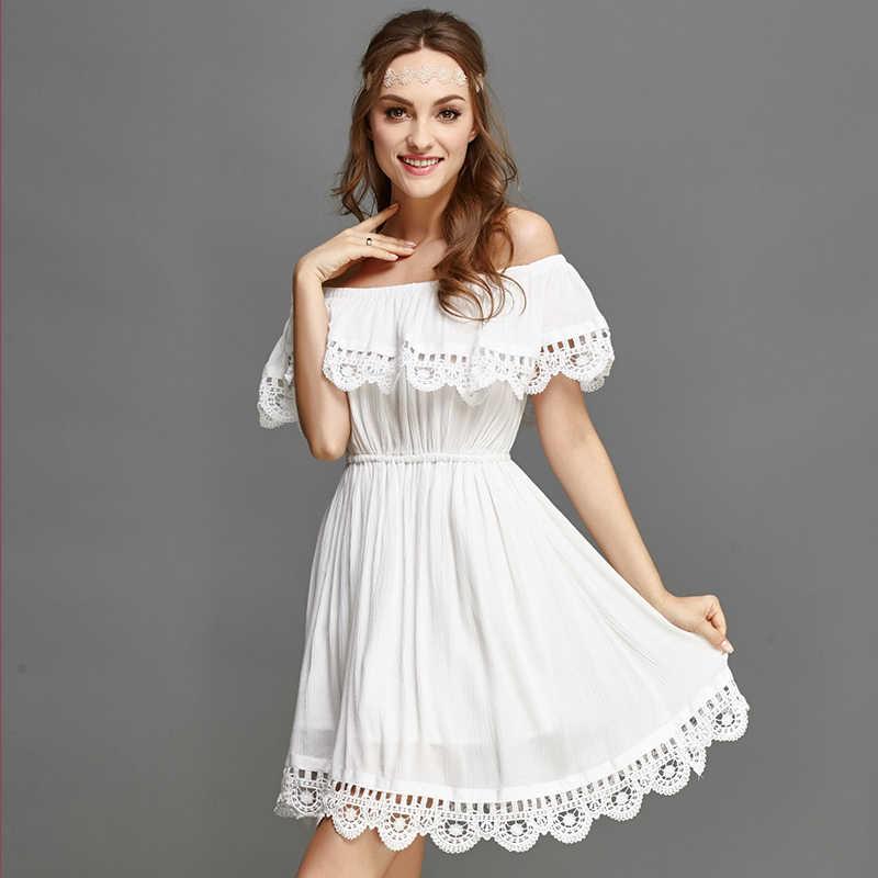 ef4fb499edc ... VISNXGI 2019 новый летний стиль для женщин белый кружево шить платье с открытыми  плечами
