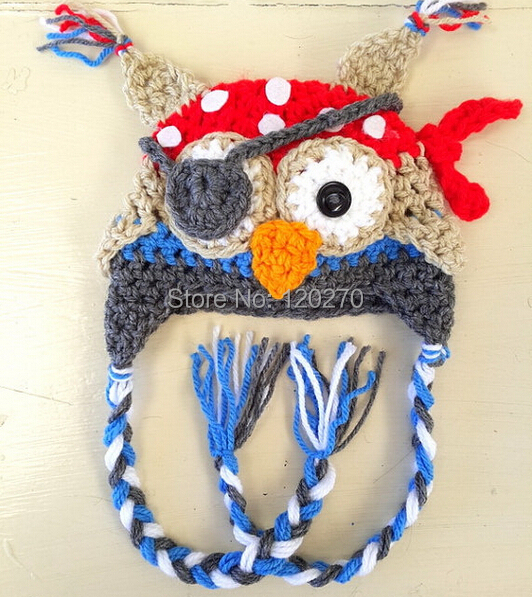 Crochet Turkey Cat Hat Pattern : Crochet Baby Boy Girl Cartoon Animal Hat Pirate Parrot OWL ...