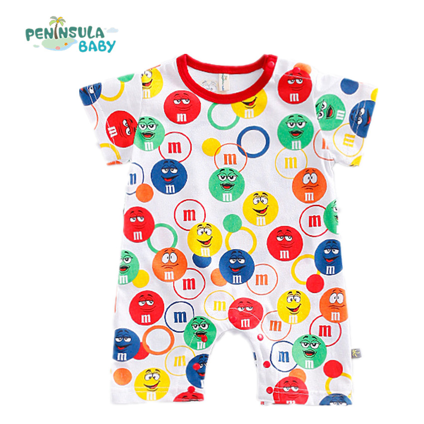 Peninsula Summer Baby Romper Clothes Colorful Girls Boys Funny Face Infant Costume Toddler Newborn Babies Jumpsuits 2pc summer sets baby boys sailor romper hat new born baby cloth infant jumpsuit for summer toddler newborn costume navy overall