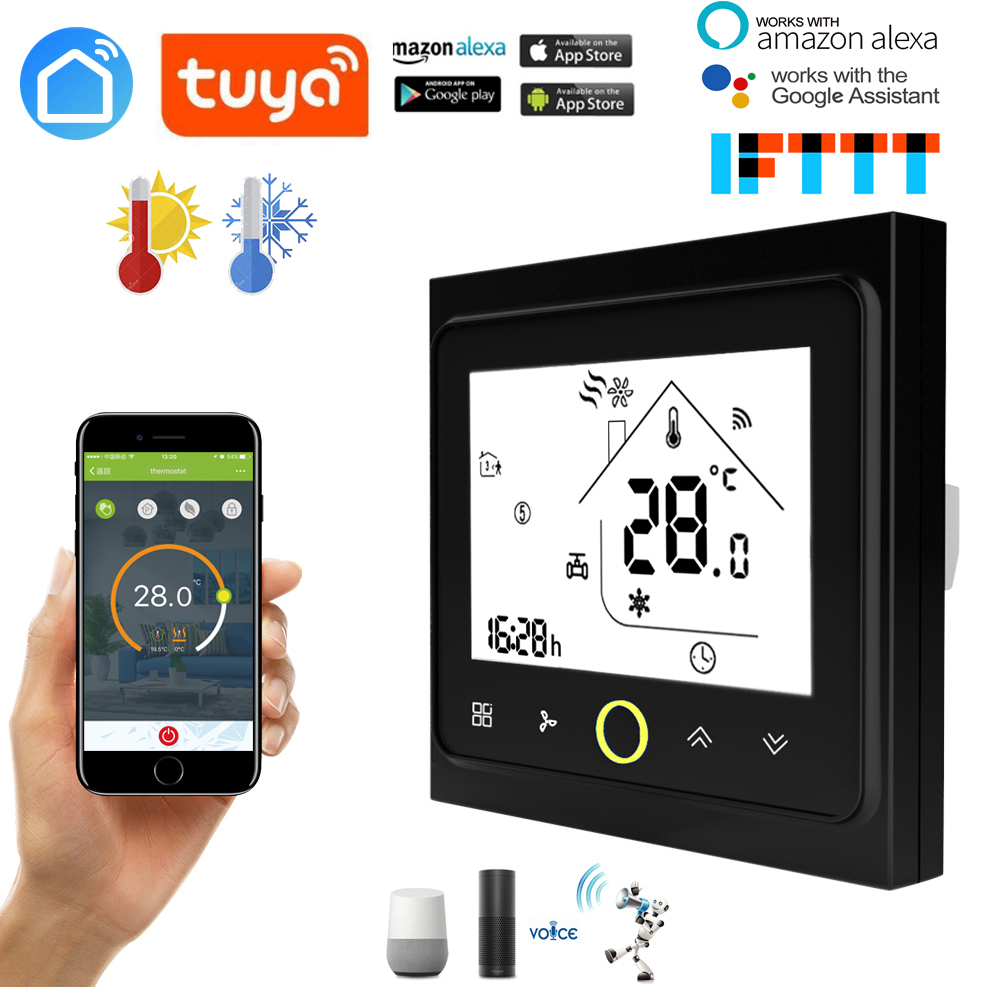 2 Pipe WiFi Smart Central Air Conditioner Temperature Thermostat  Controller 3 Speed Fan Coil Unit Work With Alexa Google Home