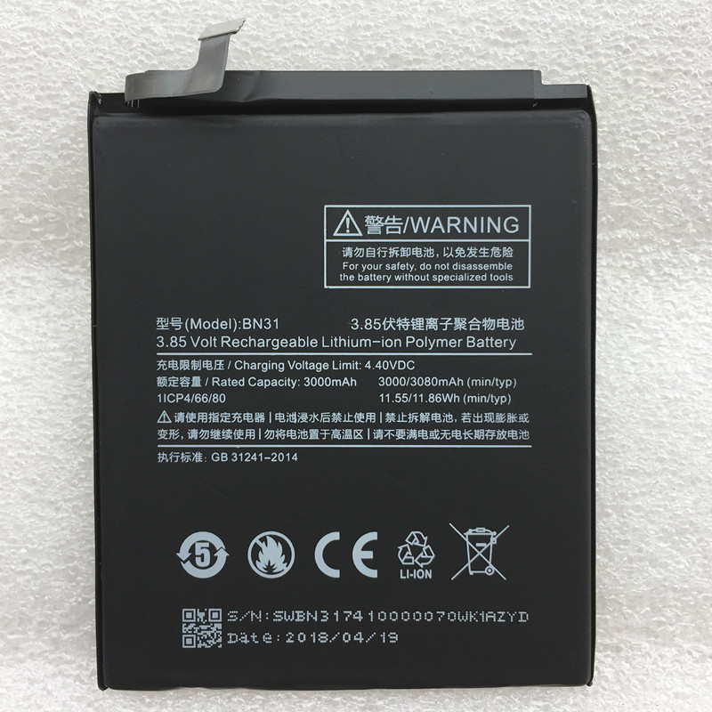 New Original Real 3000/3080mAh BN31 Battery For Xiaomi Redmi S2 Y2 Batteries