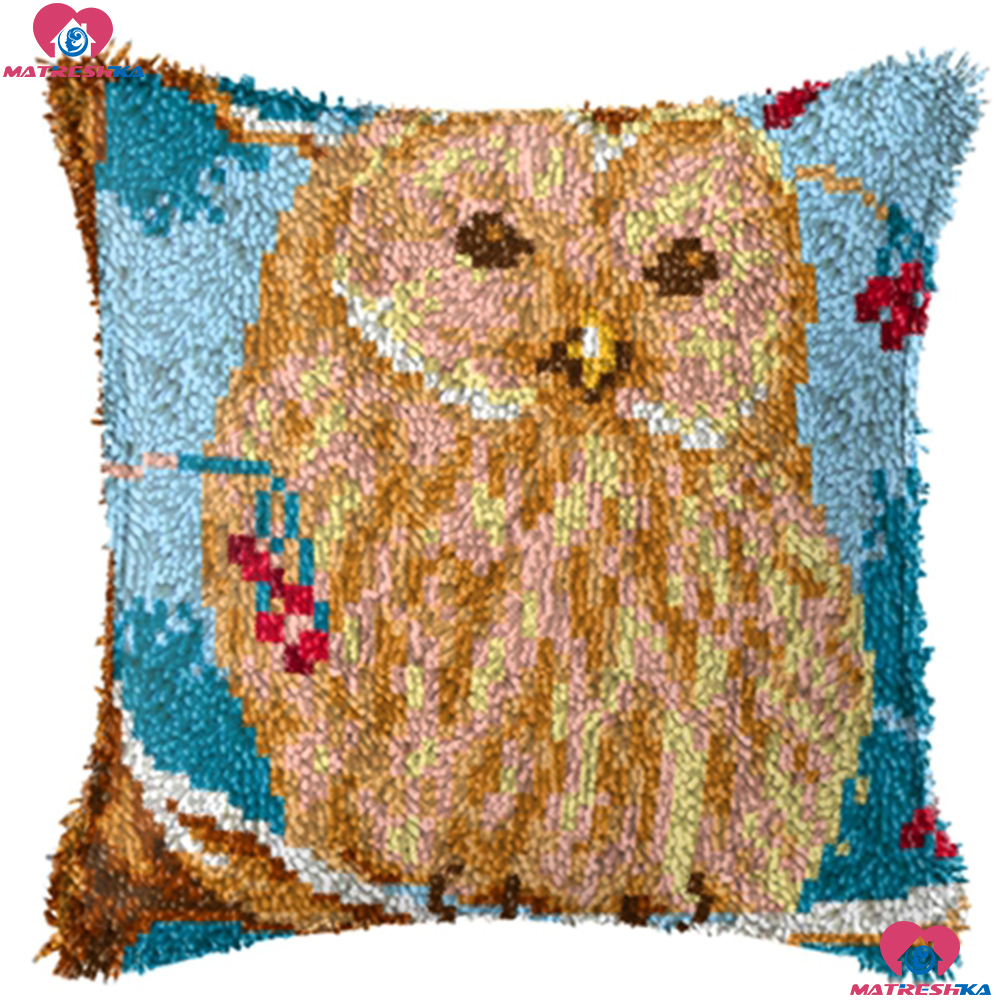 Latch Hook Kits Set for Kids Adults Beginners Bear DIY Latch Hook Kits Beginner Friendly Throw Pillow Cover Sofa Cushion Kit with Pattern Printed 16X16 inch YWNYT Latch Hook Kit
