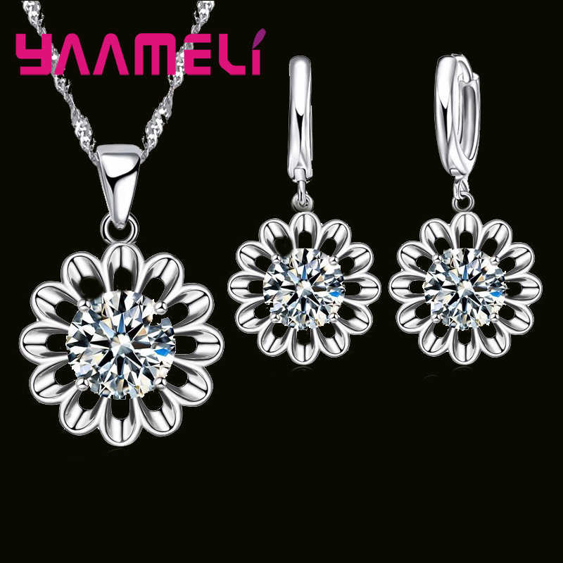 New Real Solid 925 Sterling Silver Flower Clear Cubic Zirconia Pendant Necklace Earrings Crystal Jewelry Sets For Women