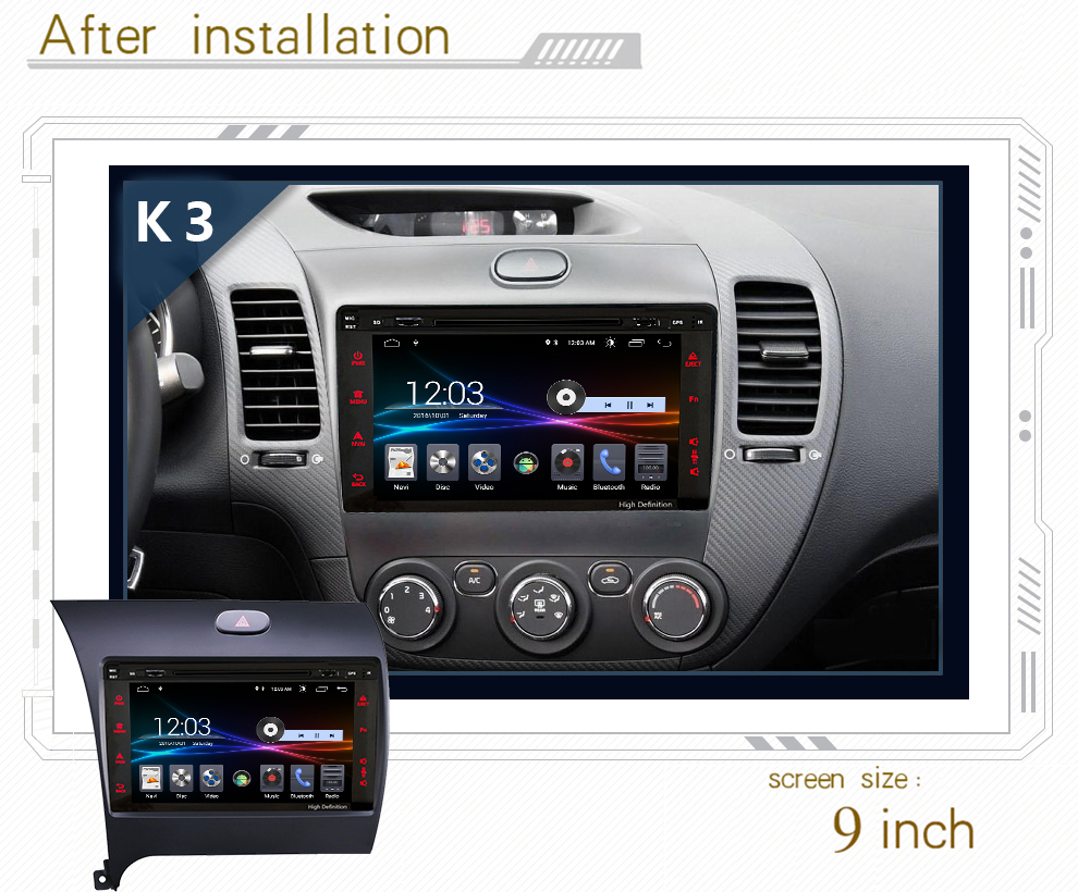 4G LTE Android 8.1 car gps multimedia video radio DVD player in dashboard for Kia K3 rio 2012 2015 year navigation stereo