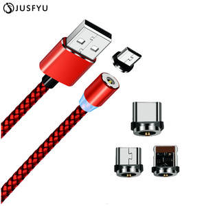 JUSFYU Magnetic Cable For iPhone X Micro USB Type-C Samsung S9 S8