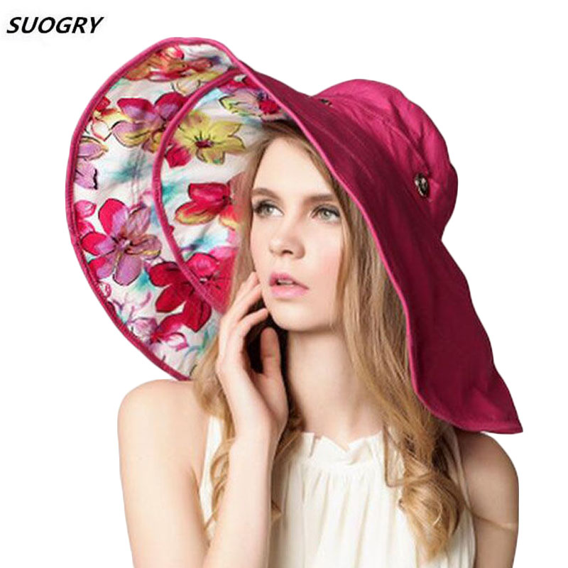 SUOGRY Top Quality Lady Sun Hat Summer Sun Cap Women Folded Wide Brim Dot Printing Cap Large Brim Hat