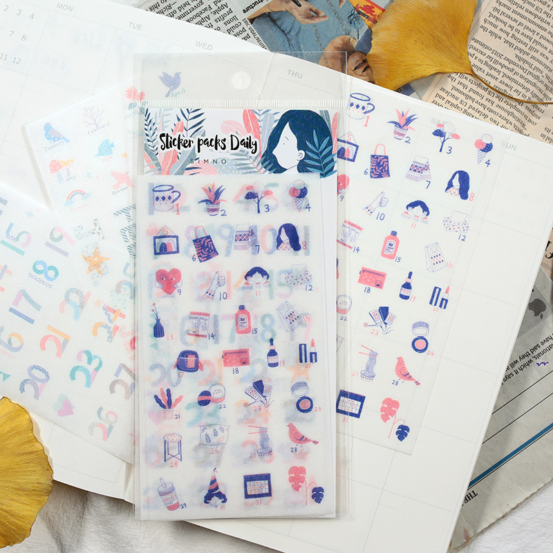 4 Sheets/pack Color Date Month Washi Planner Sticker Decorative Adhesive Sticker Craft Scrapbooking Sticker Set For Diary, Album