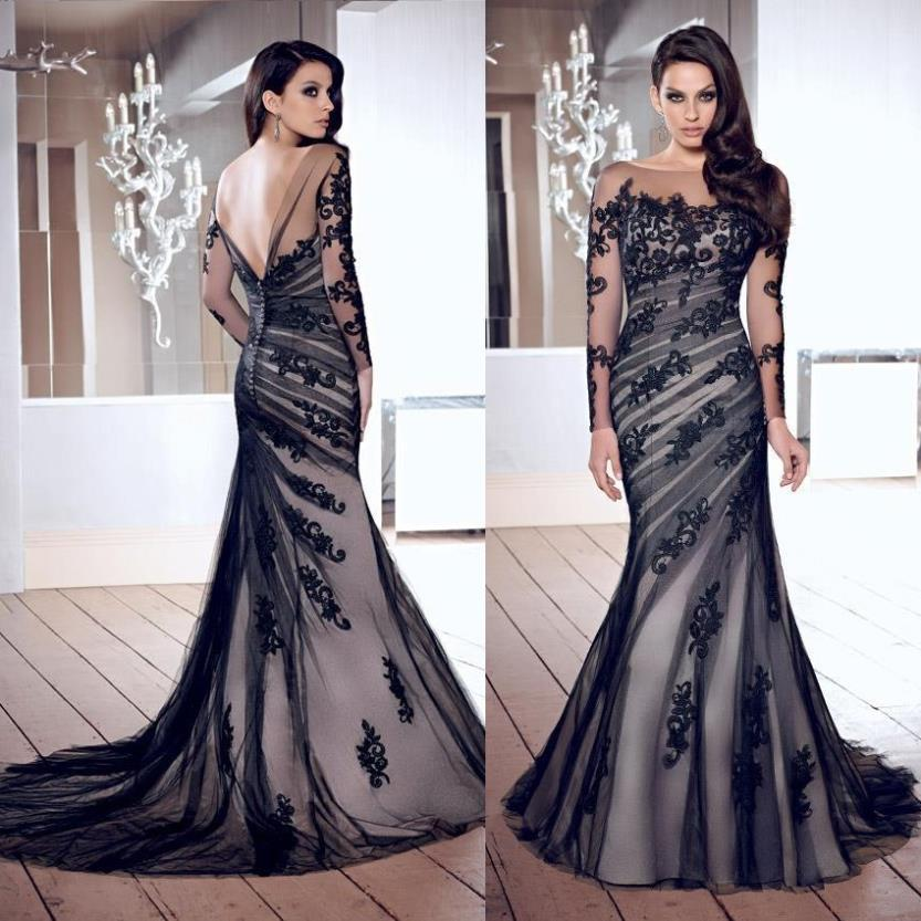 Elegant Vestido De Noche Appliques Long Sleeve Low Back Tulle Black Lace Nude Evening Dresses Real