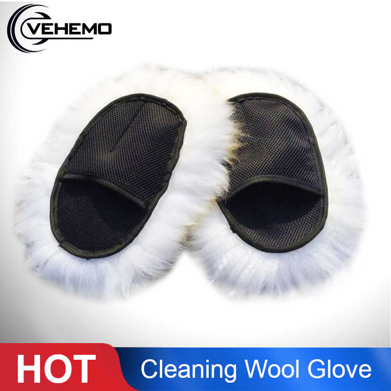 Vehemo 1PC Super Long Hair Cleaning Polishing Gloves Breathability Mesh Paws Sheepskin Car Washing Luxury Lamb Wool Glove