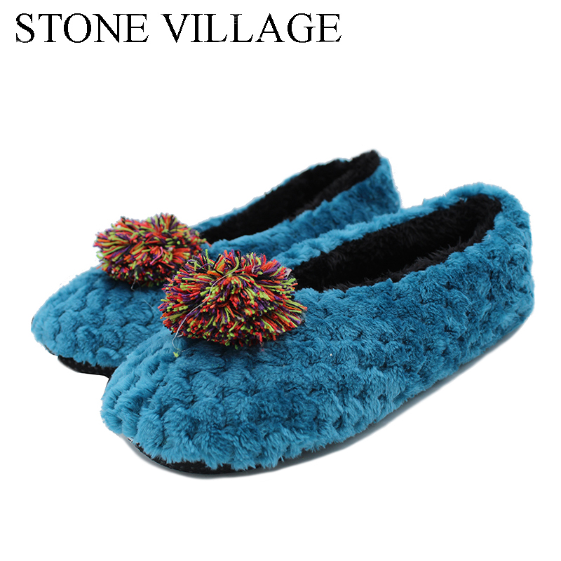 New Arrival 2018 Lovely Woolen Slippers Walking On The Carpet At Home Cotton Shoes Floor Slippers Female Home Shoes Free Size woolen monster house shoes slippers color assorted pair