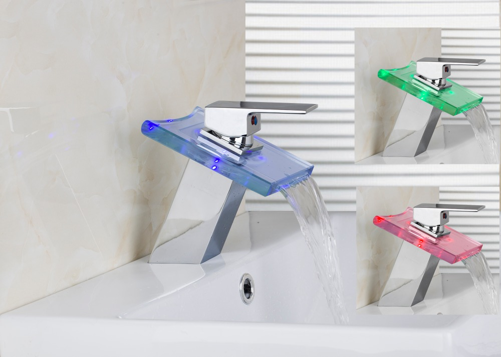 Best Bathroom Basin Sink Waterfall Faucet Washbasin Vessel Vanity Mixer Tap LED Spout torneira Deck Mounted Water Tap chrome finish waterfall bathroom basin faucet tub spout vessel sink mixer tap