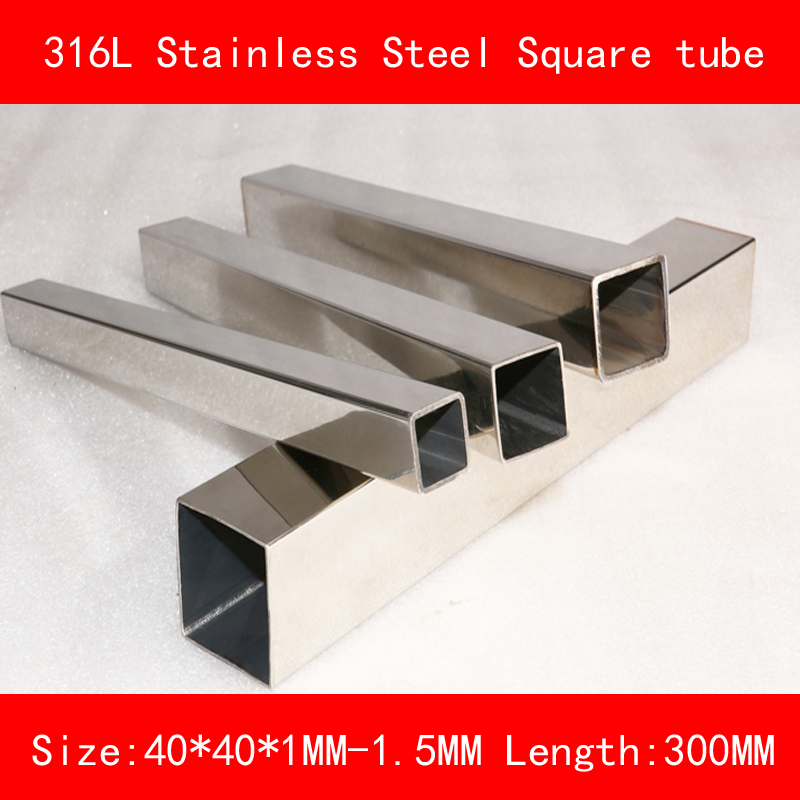 316L Stainless steel square tube length side 40*40mm Wall thickness 1mm 1.5mm Length 300mm square metal pipe 300mm multifunctional combination square ruler stainless steel horizontal removable square ruler angle square tools metal ruler