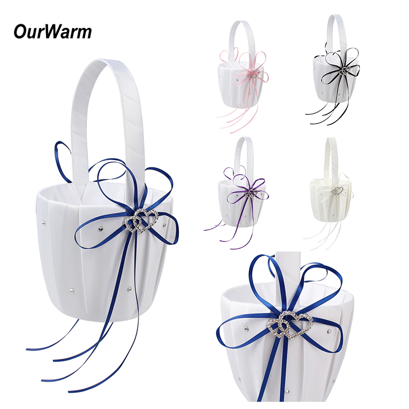 OurWarm White Flower Girl Basket For Wedding Decoration Romantic Heart And Bowknot Wedding Centerpieces Festival Party Supplies