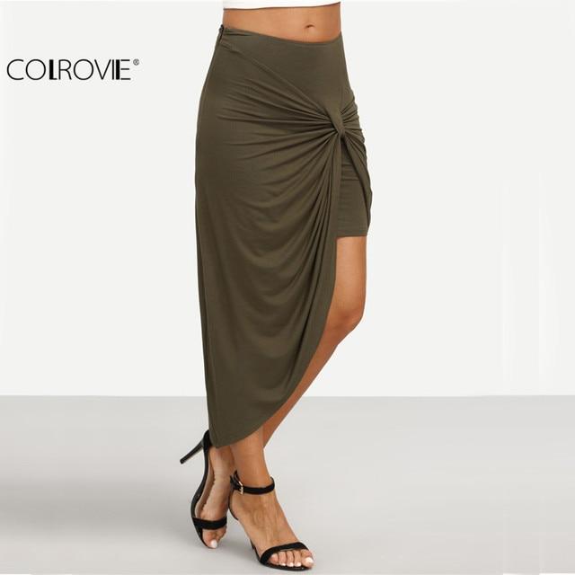 Pleated Asymmetrical Midi Skirt
