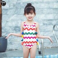 faba3ba35eff5 USEEMALL 1 8Y Bowknot Baby Girl Swimwear One Piece Kids Girls Swimsuit Cute  Wave Print White