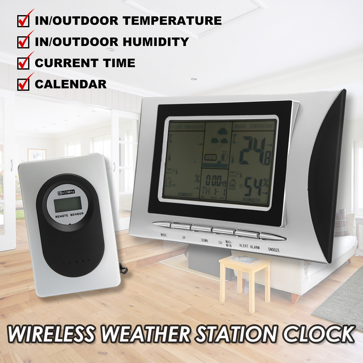 Digital LCD Thermometer Hygrometer Electronic Temperature Humidity Meter Weather Station Indoor Outdoor Teste + Sensor