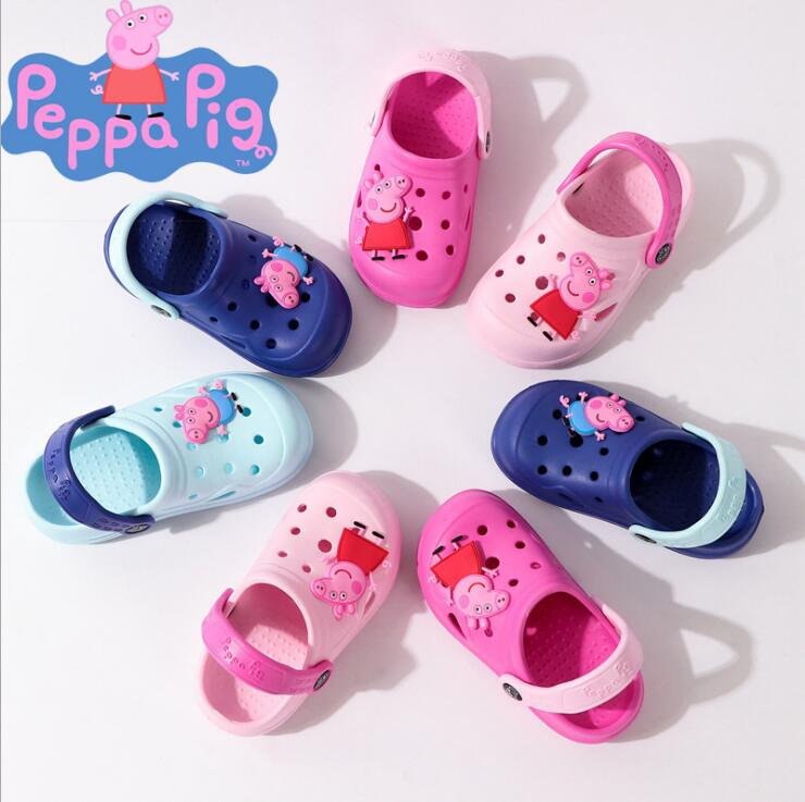 2019 Genuine PEPPA PIG Summer Fashion Children's Cartoon Characters Cave Shoes Boys And Girls Antiskid Baby Kids Slippers Beach