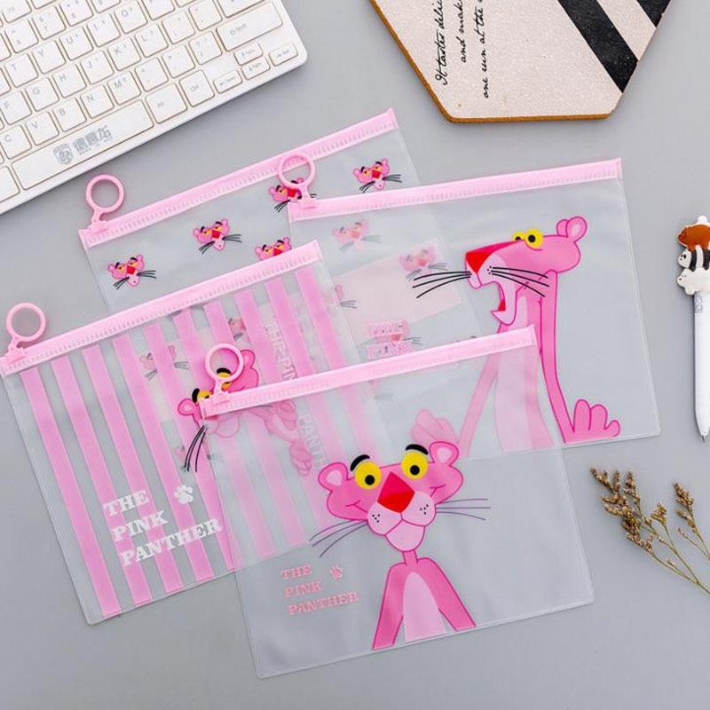 1 Pcs Kawaii Transparent Zipper Pencil Case Pink Panther Big Large Document Bag Girl Children Office School Supplie Stationery