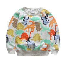 Spring Autumn New Kids Children Graffiti Printing All-match Dinosaur Kids T-shirts Clothing Grey Cotton