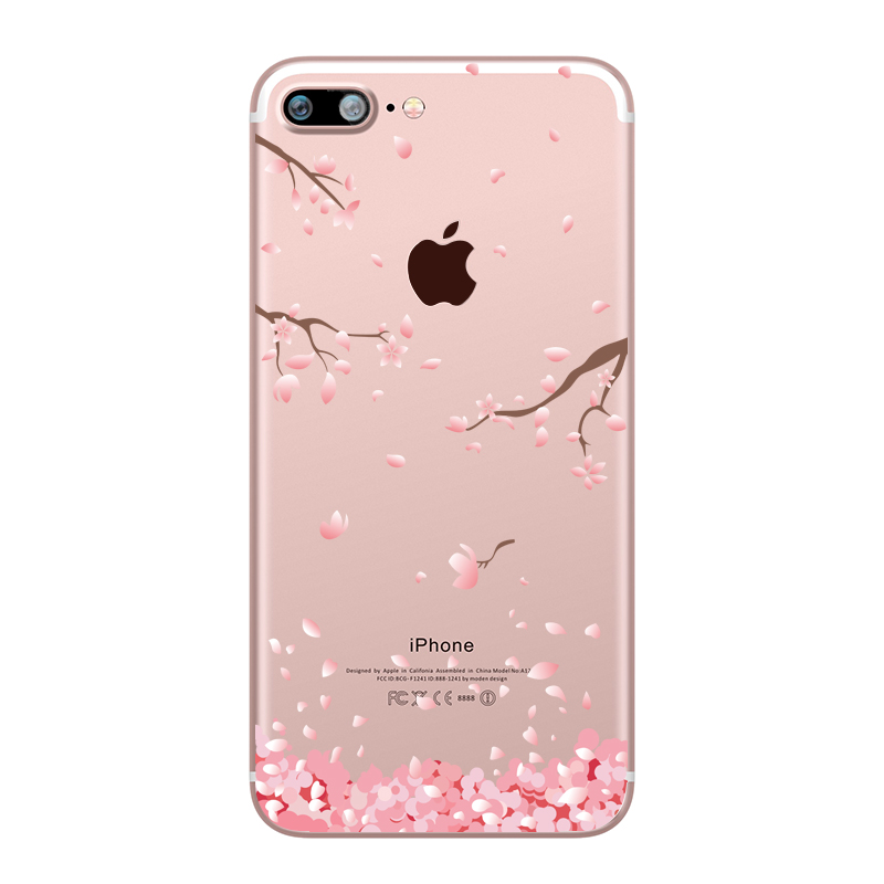 Flower Love Cherry Blossoms Rose Flowers for iphone 7 6 X 6S 8 PLUS SE 5S 7plus Silicon Clear TPU Transparent Capinha Case Funda (12)