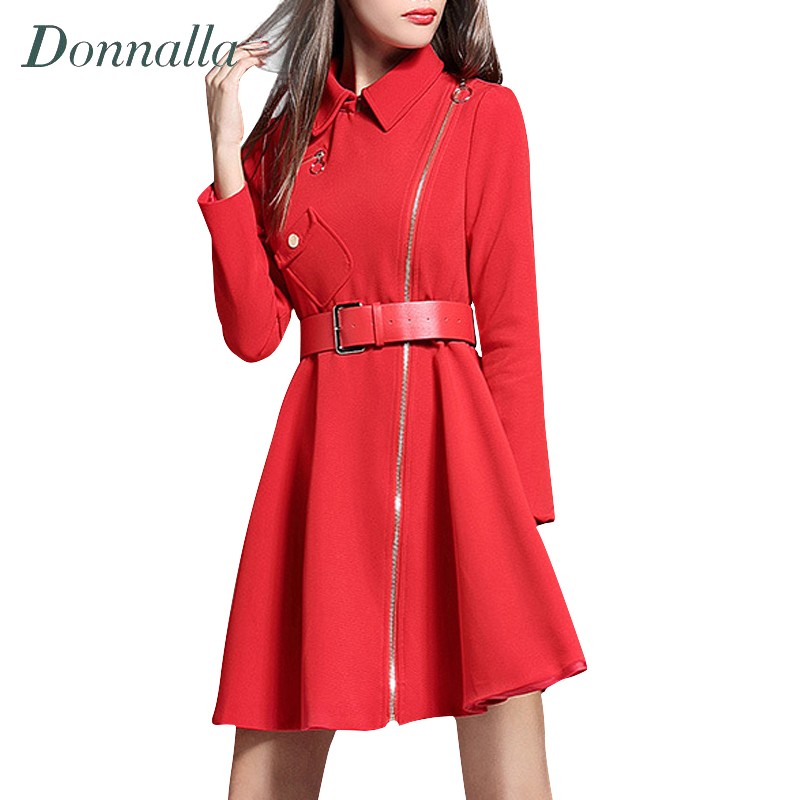 Women Coat 2016 New Design Elegant Ladies Long Sleeve Slim Wiast A-Line Trench Coats Fashion Womens Zipper Red Dress Windbreaker