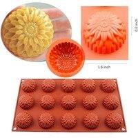 Food-grade de silicone macio flower 15 queque molde pudim molde do bolo de chocolate pan bakeware 6-big cilindros rodada flexível