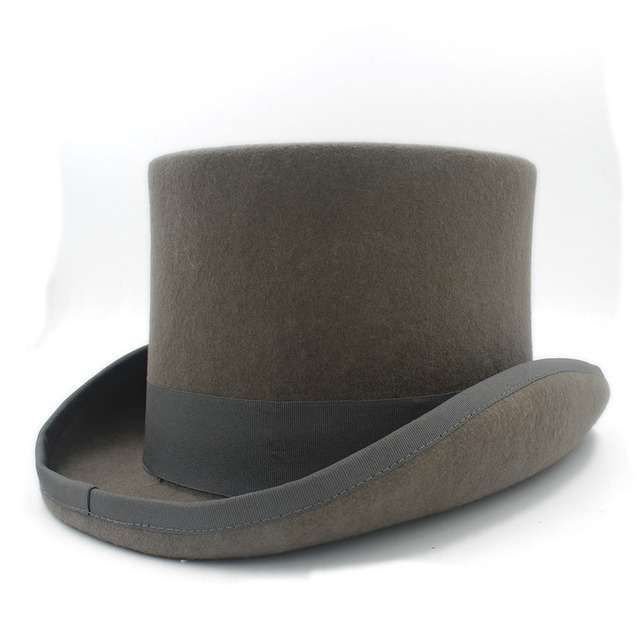ea48e9b6ab039 Top 15cm 4 Size Gray Black Wool Women Men Fedora Top Hat For Magician  Steampunk Party