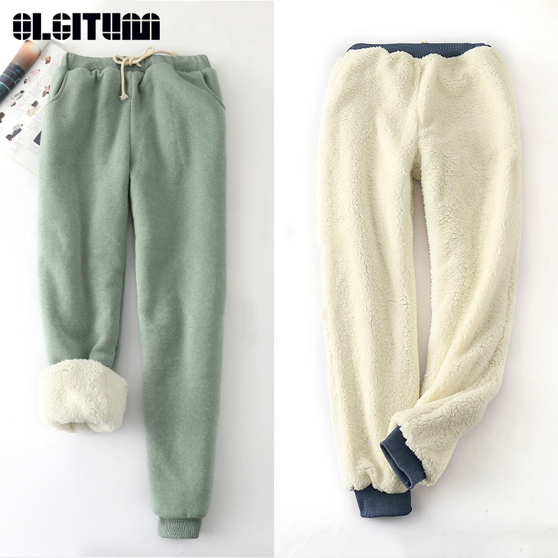 New 2018 Winter and Autumn Lamb Velvet Thickening Sweatpants Casual Pants Loose Harem Large Size Trousers