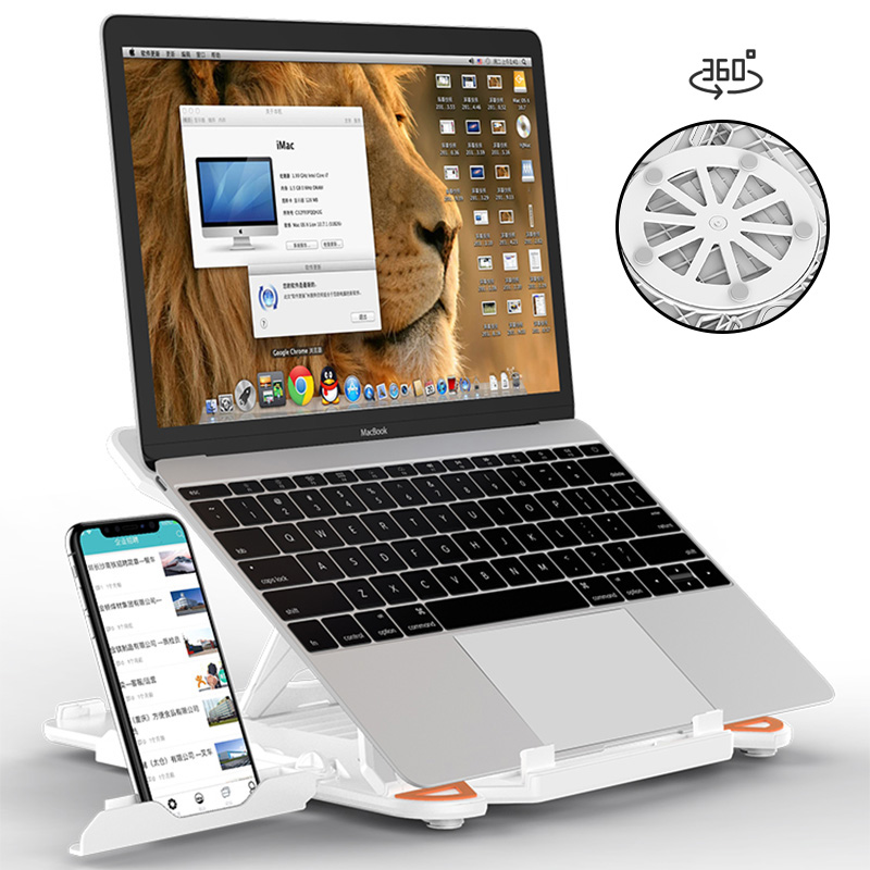 360 Rotating Laptop Stand Foldable Notebook Stand For Macbook Lenovo Laptop Holder Computer Cooling Bracket With Phone Holder